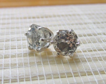 White Topaz Stud Earrings Sterling Silver April Birthstone 6mm