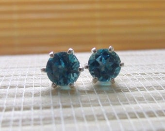 London Blue Topaz Stud Earrings Sterling Silver December Birthstone 6mm