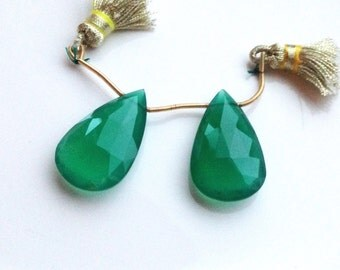 Large Faceted Green Onyx Briolette Pair