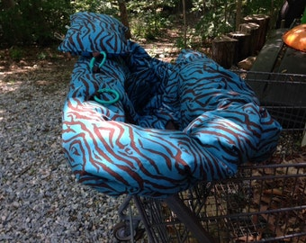 Shopping Cart cover, high chair cover,  READY TO SHIP turquoise zebra