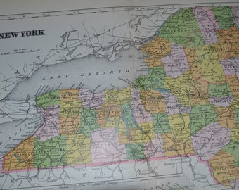1903 State Map New York State - Vintage Antique Map Great for Framing 100 Years Old