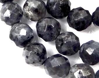 "8mm Natural Labradorite Larvikite Faceted Round beads 16"" (e7344)"