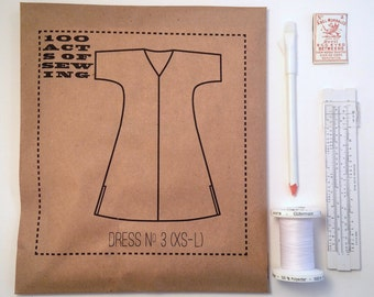 100 Acts of Sewing: Dress No. 3 - Sewing Pattern  (sizes XS - L)