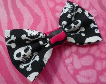 Girly Skull and Crossbones Punk Rock Hair Bow