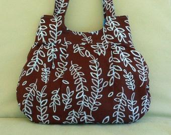 Bag Brown Shoulder Bag Purse Pocketbook Fabric Bag