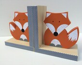 Fox Bookends, Orange and Navy Blue, Woodland Nursery, Woodland Kids Decor, Fox Nursery, Forest Themed Nursery, eco friendly