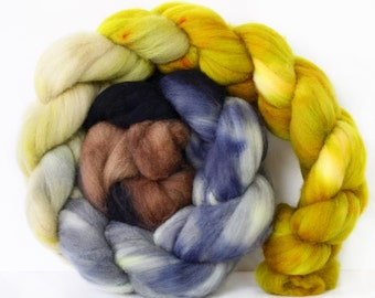Bryden Canyon 4 oz Targhee Roving Wool Superwash-Handpainted Top for Spinning or Crafting