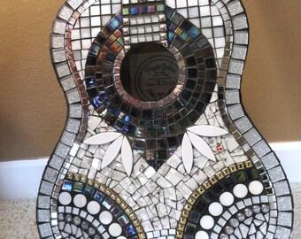 SILVER and Black Glitz Mosaic Guitar//Mosaics//Art//Mosaic Art//Home Decor//Wall Decor//Mixed Media Art//One of a Kind Art