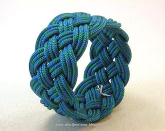 blue green rope bracelet rope jewelry cuff bracelet turks head knot armband sailor rope bracelet 3625