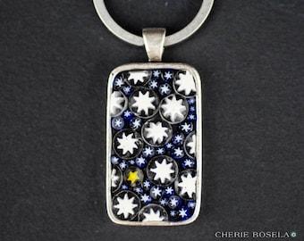 Stary Night - Millefiori Mosaic Keychain - Wearable Art