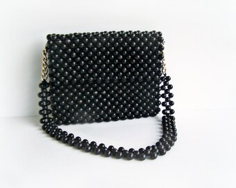 Vintage Woven Black Wood Bead Handbag , New Look 1960s Fashion Purse made in Japan High Fashion Evening Bag in Jet Black