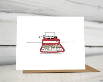 Red Royal illustrated typewriter greeting card