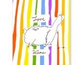 Love Wins - Rainbow Stripes Cat Card