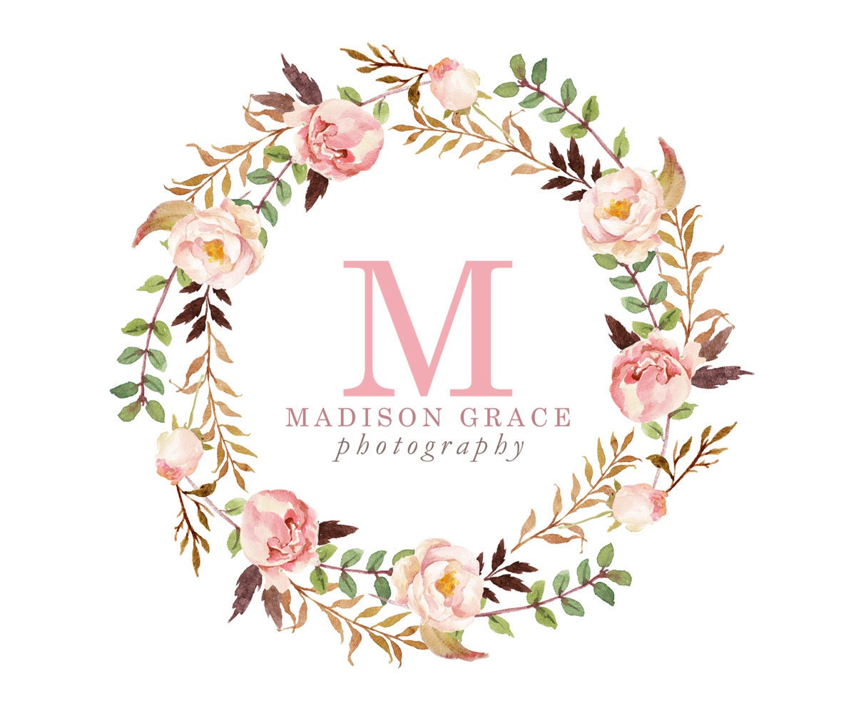 Bridal Flower Logo Watercolor Wreath Floral Monogram