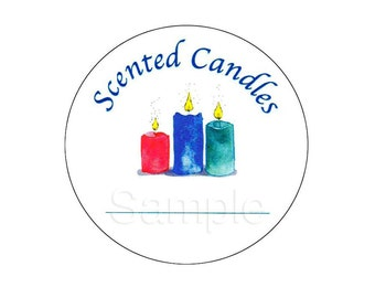 Round Stickers For Scented Candles w/line to write Scent / Fragrance