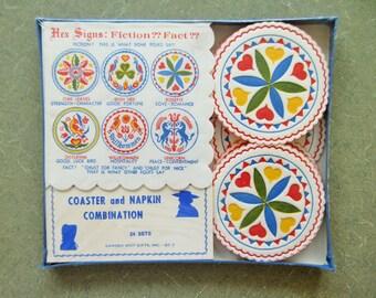 Vintage Paper Napkins, Pennsylvania Dutch, Hex Signs, Vintage Coasters, Colorful, Beverage Coasters, Paper Serviettes, NOS, New Old Stock