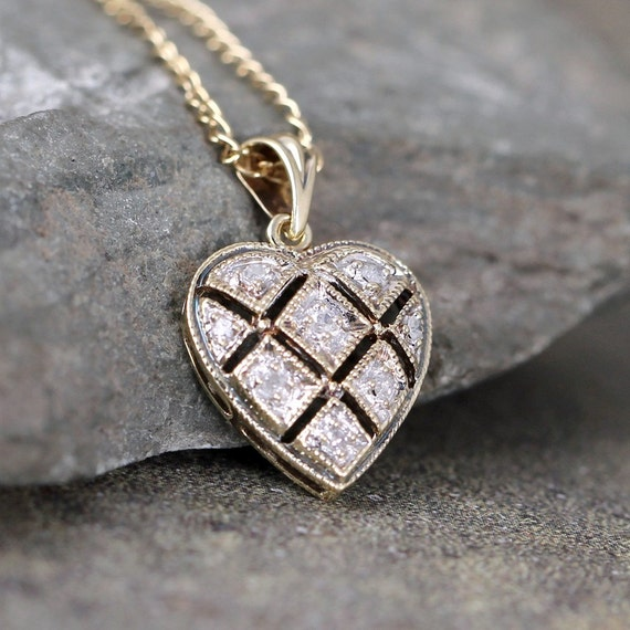 Vintage diamond heart pendant 9k gold heart necklace like this item mozeypictures Image collections