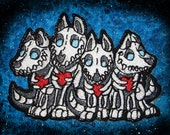 Skeletal Skeleton Bone Wolf Pack  Iron on Patch Sew Applique Wolves