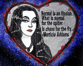 Morticia Addams Iron on Patch Sew on Applique embroidered