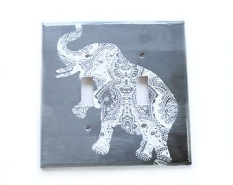 Bohemian Switchplate Cover / Gray Elephant switchplate  / Gray Ombre /  Bohemian Bedroom Decor