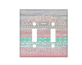 Coral Mint Switchplate Cover / Light Switch Cover / Faux Gray Wood / Aztec Switchplate / Lighting Home Decor