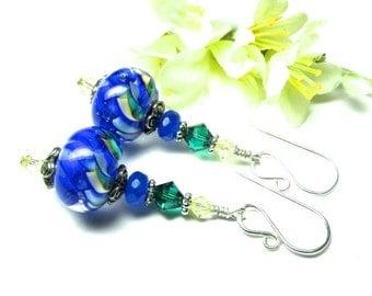 Colorful Earrings Blue  Earrings Elegant Earrings Lampwork Earrings Glass Earrings Artisan Earrings Beaded Earrings Glass Bead Earrings