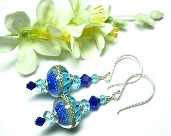 Blue Turquoise Earrings, Blue Earrings, Lampwork Earrings, Handmade Earrings, Colorful Earrings, Glass Earrings, Glass Lampwork Earrings
