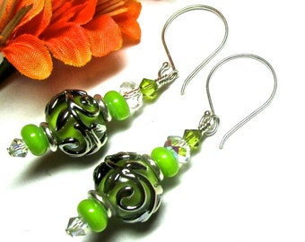 Elegant Earrings Lampwork Earrings Glass Earrings Artisan Earrings Lime Green Earrings Beaded Earrings Glass Bead Earrings Handmade Earrings