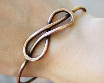 Infinity Bracelet, Knot, Bangle, Oxidized Copper, Wire jewelry