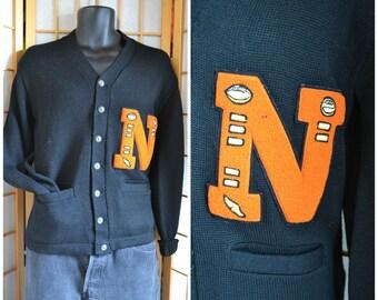 50s black wool letterman cardigan sweater mens size small / medium