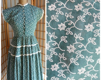 50s green floral print cotton day dress womens size medium