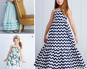 SUMMER CLOTHES PATTERN! Make Girls Dress or Sundress / Two Lengths / Size 3 to 6 Or 7 to 14