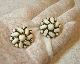 Milk Glass Clip On Earrings / Rectangles And Rounds / 1930s 40s