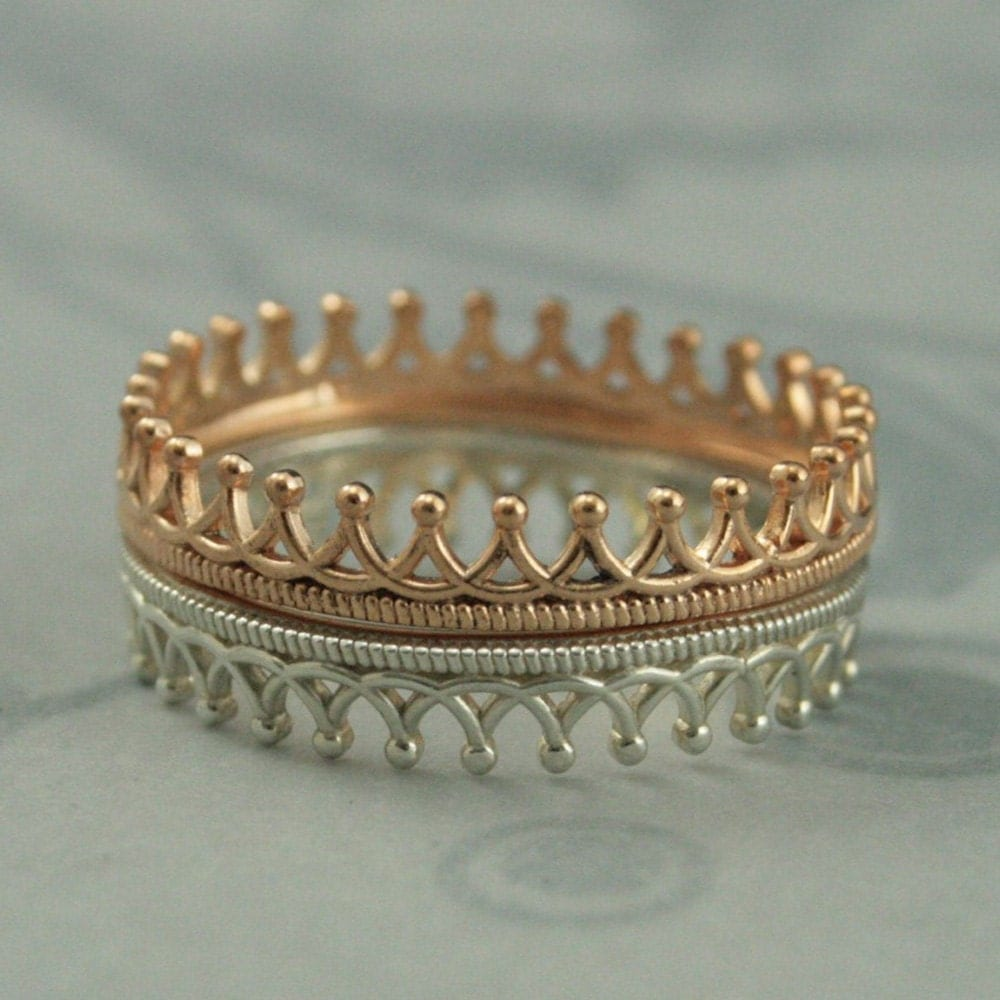 pretty in pink princess crown ring stacking setsolid 14k