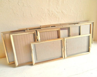 Large Set of Vintage Tri-fold and Bi-Fold Gold Metal Picture Frames All 3.5x5 Inch Folding