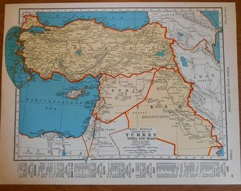 1937 Iraq Turkey Syria Map, vintage atlas map