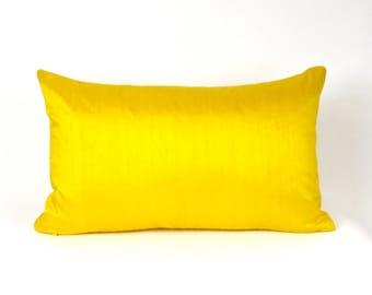 "Yellow Dupioni Silk Pillow Cover -  12"" x 20"", 12"" x 24"", 13"" x 22"", 18"", 20"", 22"",  Yellow Throw Pillow, Yellow Toss Pillow, Yellow Silk"