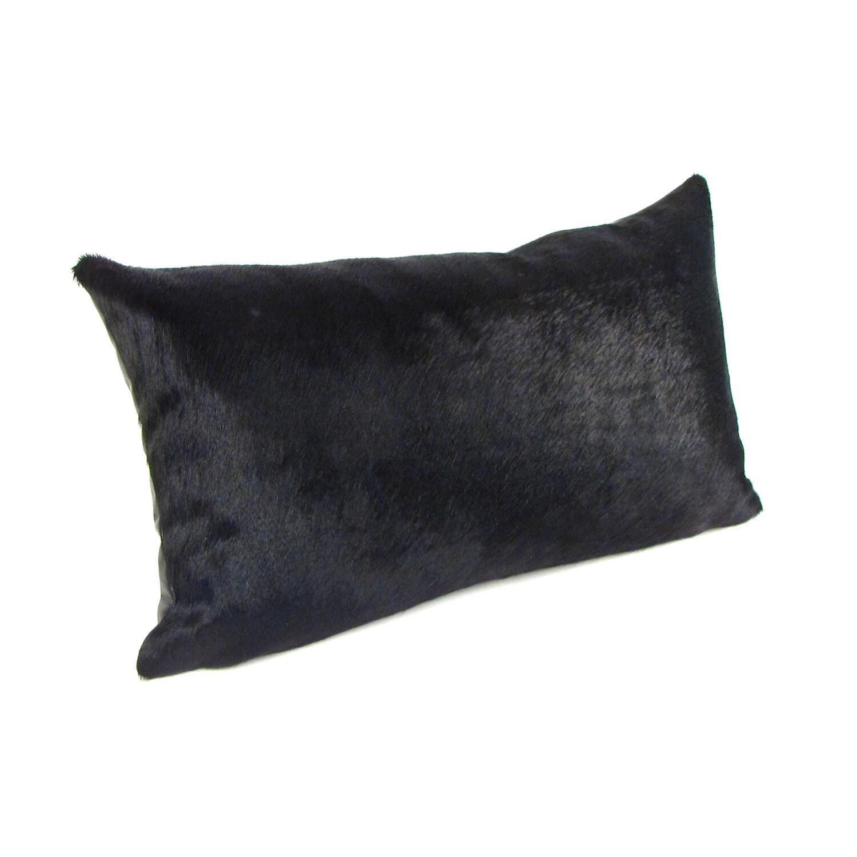 Black Cowhide Lumbar Pillow
