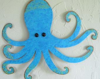 Metal Wall Art Sculpture Octopus Sealife Beach House Wall Art Turquoise Recycled Metal Wall Hanging Custom Requests 13 x 15