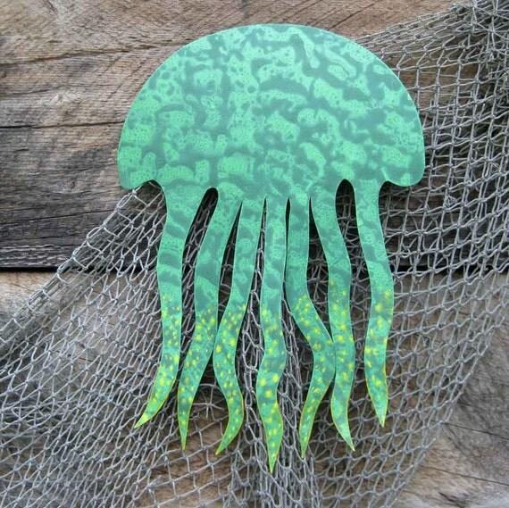 Metal wall art sea life wall decor sculpture jellyfish reclaimed