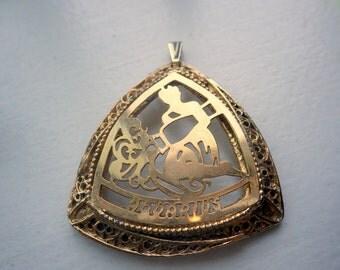 Large Gold Aquarius Theme Necklace
