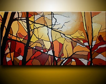 Contemporary Semi Abstract Landscape Original Huge Acrylic Canvas Ready to Hang, FREE SHIPPING, Birds on branch, birds, tree branches