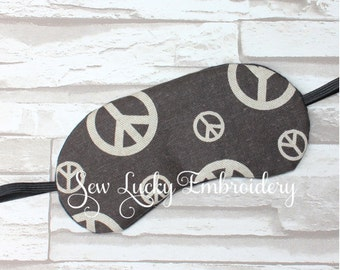 Peace Signs Embroidered Sleep Mask