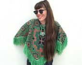 Vintage Reversible GREEN Floral Bohemian Fall Winter Knit Cape PONCHO with Fringe Festival Hippie Short Poncho Cape
