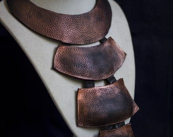 Designer long copper leather necklace Statement jewelry