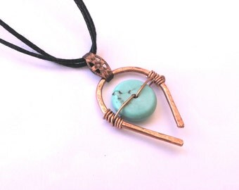 Turquoise necklace, hammered copper pendant, wire wrapped, bohemian jewery, turquoise jewelry, festival jewelry, turquoise pendant,