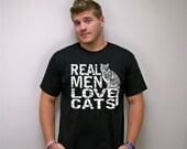 Cat shirt, Catman, Real Men Love Cats, man shirt, mens t-shirts, fiancé gift, Cat Man tshirt, message tshirt, American Apparel, gift for him