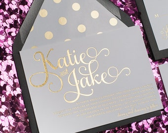 Foil  - Black and Gold Polka Dots Wedding Invitation - SAMPLE (Adele)