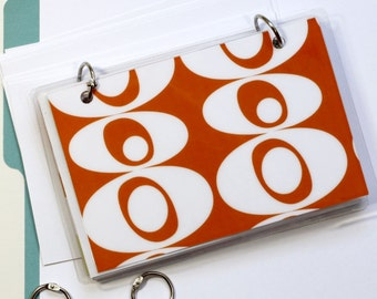4 x 6 Index Card or Note Card Binder, Orange Blobs