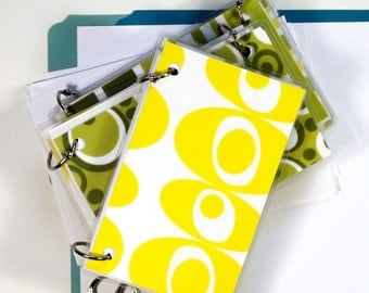 4 x 6 Index Card or Note Card Binder, Set, Green and Yellow